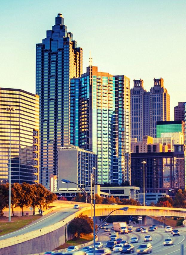 Atlanta Skyline and Highway at Sunset